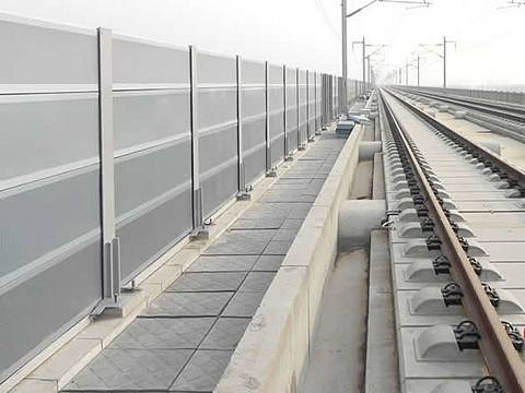 Noise barriers are installed on the both side of railway.