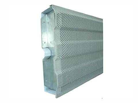 An aluminum noise barrier with round hole uneven surface.