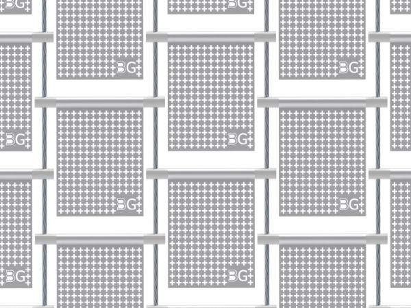 A piece of perforated kinetic facade with cross holes perforations in straight rows.