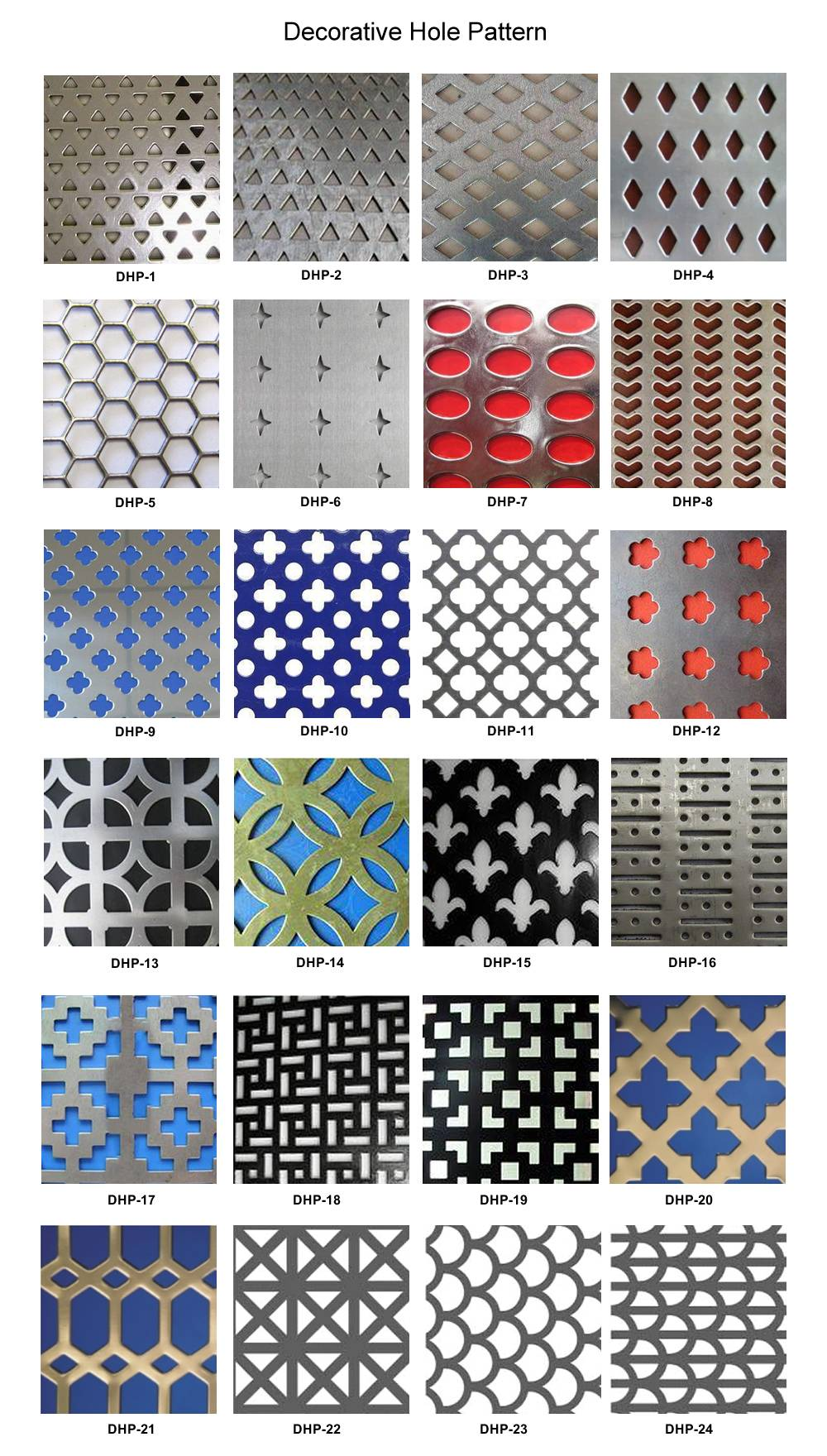 Twenty four patterns of holes for decorative perforated sheets