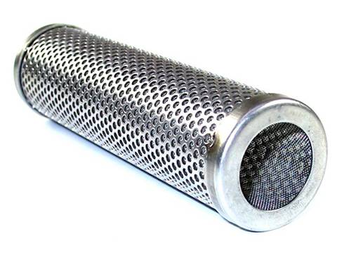 As metal filter element external framework, a perforated tube with round holes lies on white background.