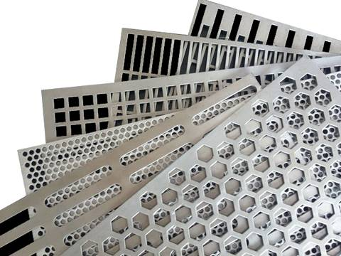 Six perforated sunshade panels with different hole patterns arranged from bottom to top: rectangle, rectangle, square, round, slot and hexagonal.