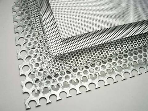 Five different density perforated sunshade panels have no margin, from top to bottom density decreased in turn.