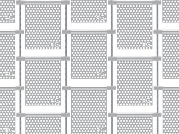 Perforated kinetic facade with round holes in staggered rows.