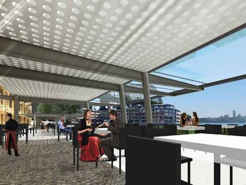 A large sheet of perforated sunshade panel is set up a leisure space for people enjoying free time.