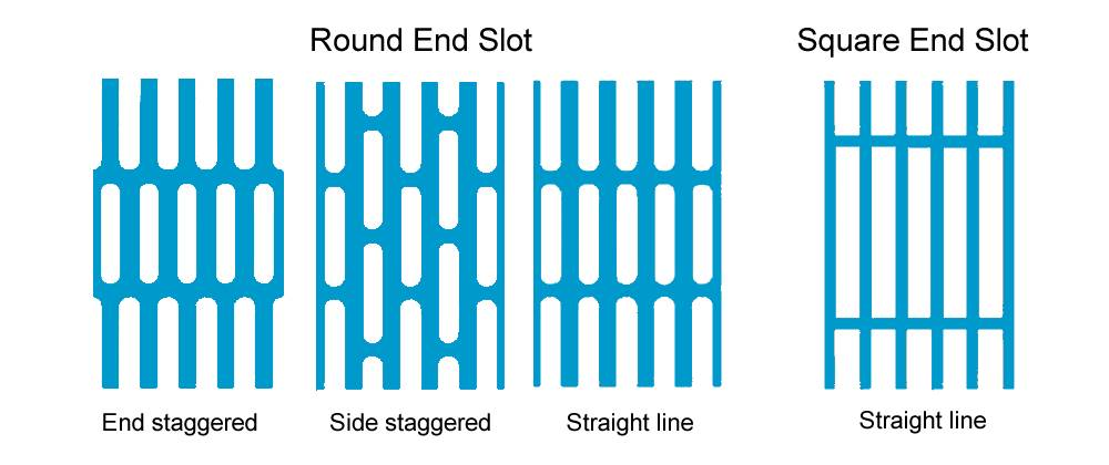 Four slot hole patterns of perforated sheets including end and side staggered, straight line with round end or square end slots