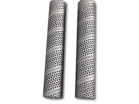 Two spiral welding perforated tubes with round holes in staggered lines.
